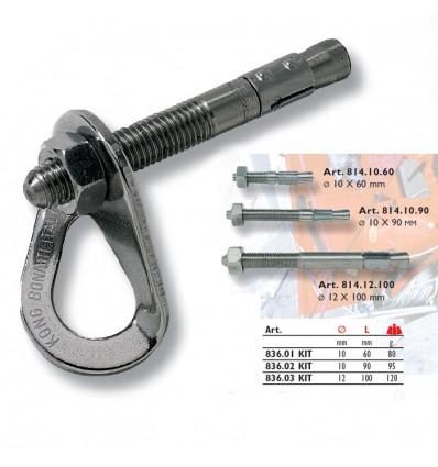 Rocher / Falaise Kong Kit D Ancrage Anchor (plaquette + Tige 10 X 90mm) - AlpinStore